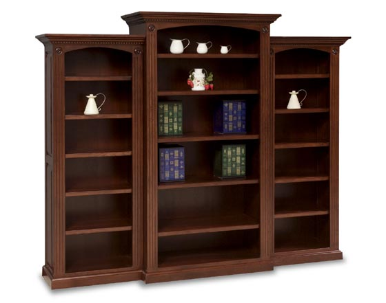 3 Piece Deluxe Amish Bookcase Unit Zoom