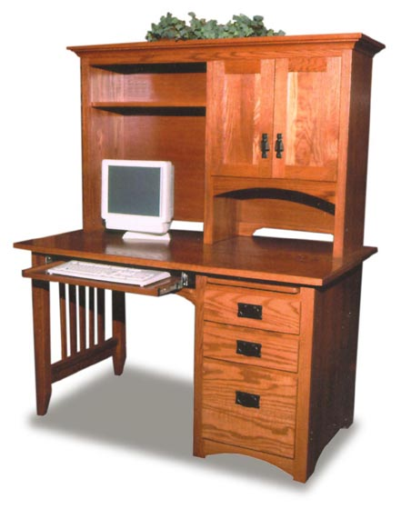 Mission style amish computer desk amish office furniture sugar plum oak amish furniture in - Mission style computer desk with hutch ...
