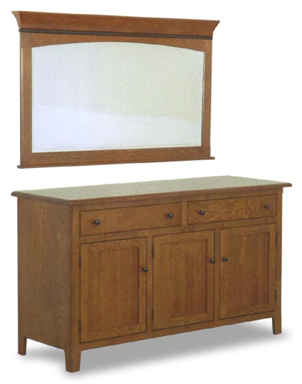 Amish Rustic Dining Room Sideboard Server Buffet Cambridge: Amish Cambridge Buffet And Mirror