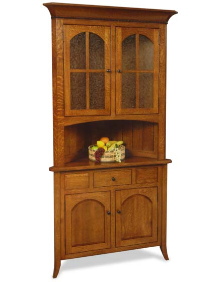 bunker hill corner hutch with drawer amish dining room furniture