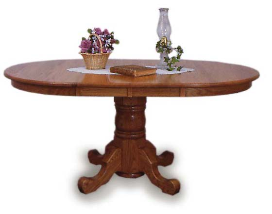 42 round single pedestal dining room table amish dining for Dining room tables 42 round
