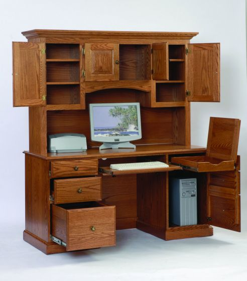 Computer Desktop Hutch  Amish Office Furniture  Sugar Plum Oak