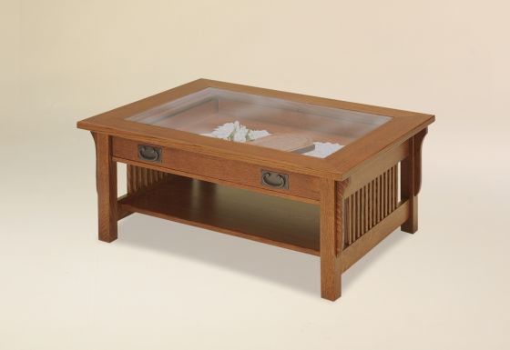 Landmark Glass Top Coffee Table Amish Family Room And