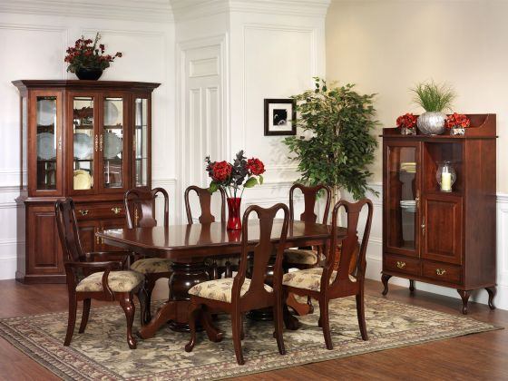 Queen victoria pottery pantry amish dining room for Dining room tables victoria