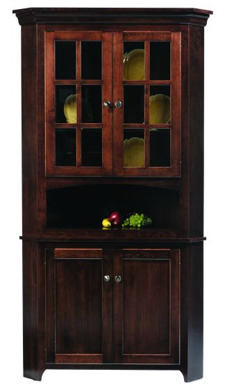 Lexington Shaker Amish Corner Hutch | Amish Dining Room Furniture ...