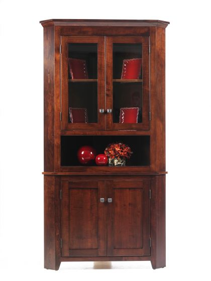 newport shaker corner hutch amish dining room furniture sugar plum