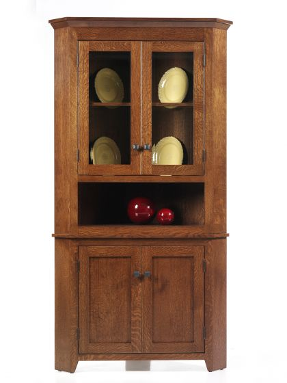 newport shaker corner hutch amish dining room furniture