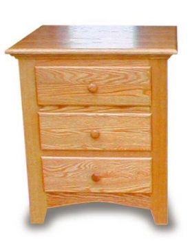 Amish Shaker 3 Drawer Bedroom Night Stand