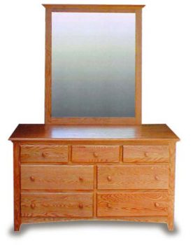 "Amish Bedroom 55"" Shaker Dresser & Mirror"