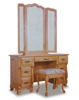 Amish Vanity Dresser and Mirror from Wrap Around Collection