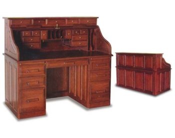 "62"" Rolltop Amish Office Desk with Drawers"