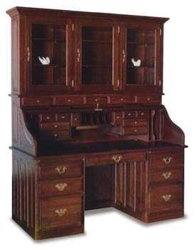 "68"" Amish Roll Top Office Desk with Hutch"