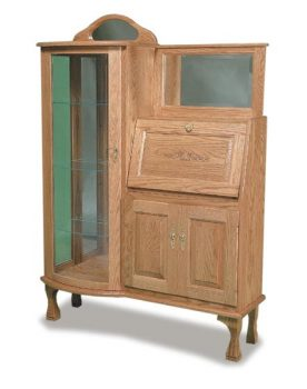 Amish Curved Glass Secretary Desk and Curio
