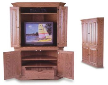 Amish Hidden Drawer Corner Entertainment Center
