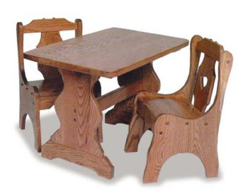 Children's Table with Heart Chairs