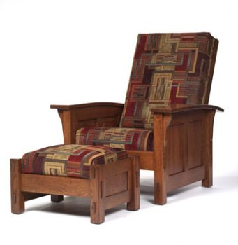 Amish Paneled Morris Chair and Ottoman