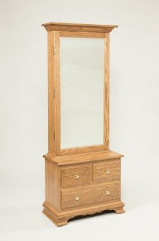 Mirrored Jewelry Armoire with Drawer Base